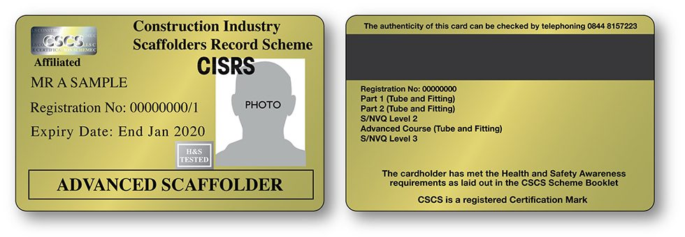 CISRS Advanced Scaffolder Card