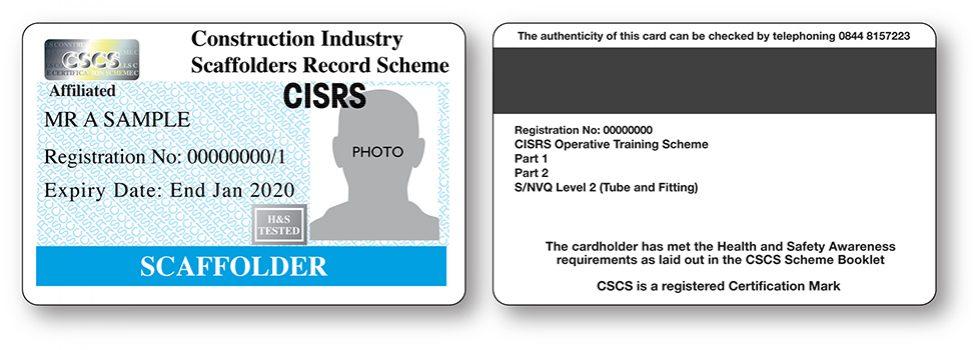 CISRS Scaffolder (Tube & Fitting) Card