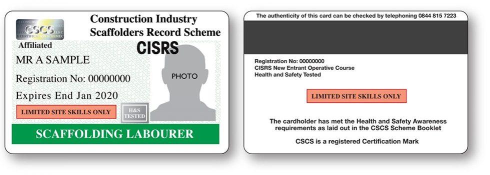 Labourer Construction Industry Scaffolders Record Scheme