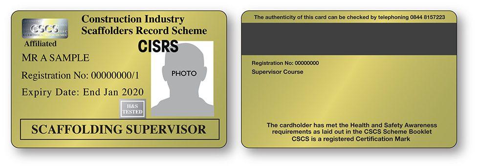 CISRS Scaffolding Supervisor Card
