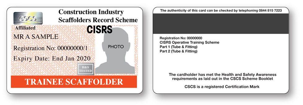 CISRS Trainee Scaffolder Card